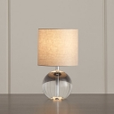 Cylinder Bedroom Nightstand Lamp Rural Style Fabric 1 Head Beige Table Lamp with Globe Crystal Base