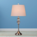 Fabric Tapered Drum Night Lamp Country 1-Light Bedroom K9 Crystal Table Lighting in Black/Pink