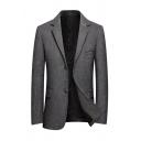 Mens Classic Herringbone Pattern Long Sleeve Button Closure Slim Fitted Gray Blazer