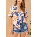 Leisure Ladies Allover Floral Printed Short Sleeve Spread Collar Button up Loose Fit Shirt Top in Pink