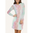 Simple Womens Tie Dye Printed Long Sleeve Drawstring Hooded Curved Hem Slit Sides Tunic Relaxed Dress