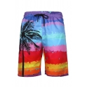 Mens 3D Fashion Relax Shorts All over Sailboat Print Multicolor Palm Tree Pattern Drawstring Mid Waist Knee-length Straight Fit Relax Shorts with Pocket