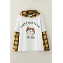 Ladies Fashionable Plaid Printed Patched Letter First Meeting Hello Cat Graphic Loose Fit Hoodie