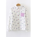 Simple Girls White All Over Rabbit and Carrot Printed Chest Pocket Long Sleeve Point Collar Button Up Relaxed Shirt Top
