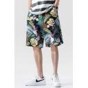 Cozy Shorts Floral Leaf Pattern Pocket Drawstring Mid Rise Oversize Shorts for Men