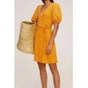 Adorable Girls Polka Dot Printed Puff Sleeve Surplice Neck Bow Tied Waist Short Wrap Dress in Yellow