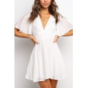 Trendy Ladies Butterfly Sleeve Deep V-neck Bow Tied Open Back Mini Pleated A-line Dress in White
