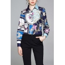 Stylish Flower Bird Allover Printed Long Sleeve Spread Collar Button-up Curved Hem Relaxed Shirt in Blue