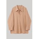 Leisure Womens Orange Long Sleeve Point Collar Button-up Slit Side Loose Fit Shirt