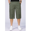 Stylish Mens Cargo Shorts Pocket Zipper Drawstring Applique Mid Rise Fitted Cargo Shorts