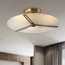 3 Bulbs Ceiling Light Fixture Frosted Classic Drawing Room Semi Flush in Brass with Plectane Shade