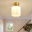 1-Light Scalloped/Dome/Flared/Floral Flushmount Traditional Brass Opaline Glass Ceiling Mounted Fixture