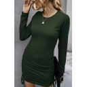 Sexy Solid Color Ruched Drawstring Round Neck Long Sleeve Mini Bodycon Dress for Women