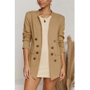 Formal Womens Khaki Long Sleeve Stand Collar Double Breasted Regular Fit Blazer