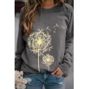 Casual Fashion Long Sleeve Crew Neck Dandelion Printed Relaxed Fit Pullover Sweatshirt for Women