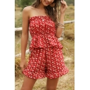 Fashionable Ditsy Floral Printed Stringy Selvedge Open Back Strapless Sleeveless Fitted Crop Peplum Tube Top & Ruffled Shorts Set in Red