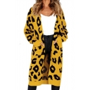 Pop Womens Leopard Printed Open Front Pocket Long Sleeve Relaxed  Longline Knitted Cardigan Sweater Coat