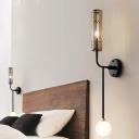 2 Bulbs Opal Glass Wall Light Fixture Modernist Black Sphere Bedroom Wall Lamp with Tubular Metal Shade