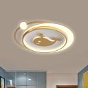 Plane/Heart/Fish Bedroom Flush Light Fixture Acrylic LED Cartoon Flushmount Ceiling Lamp in Gold