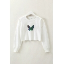 Chic Butterfly Printed Long Sleeve Crew Neck Loose Cropped Pullover Sweatshirt in White