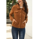 Casual Solid Color Flap Pocket Single Breasted Long Sleeve Turn-down Collar Fitted Cropped Cardigan Coat in Brown