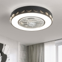 Circle Metal Ceiling Fan Light Macaron White/Black/Pink LED Semi Flush Mount Lamp for Bedroom, 23