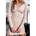 Elegant Womens Knit Long Sleeve V-neck Twist Front Drawstring Sides Short Fitted Dress in Apricot