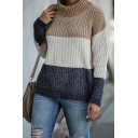 Stylish Womens Colorblock Knitted Long Sleeve Turtle Neck Loose Fit Pullover Sweater