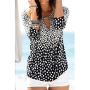 Casual Womens Polka Dot Printed Ombre Long Sleeve V-cut Relaxed T Shirt