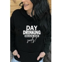 Chic Girls Letter Day Drinking Printed Long Sleeve Drawstring Pouch Pocket Relaxed Hoodie