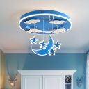 Round Hanging Lamp Cartoon Metallic Pink/Blue LED Suspension Pendant with Moon and Star Decoration
