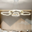 LED Drawing Room Ceiling Chandelier Nordic White Suspension Lighting with Moon and Cloud Acrylic Shade