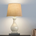 White LED Table Lamp Colonial Fabric Barrel Reading Book Light with Ceramic Base for Bedroom
