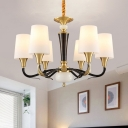Frosted Glass Black Suspension Lighting Tapered 6 Bulbs Traditional Pendant Ceiling Light