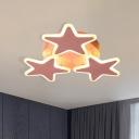 Stars Flushmount Lighting Macaron Style Acrylic Pink Ceiling Mounted Fixture for Nursery