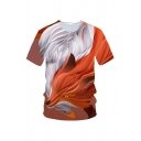 3D Brown Fox Print Basic Short Sleeve Round Neck Loose Fit T-Shirt