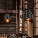 Vintage Style Bell Shaped Ceiling Hang Fixture 1 Light Metal Suspension Light in Black