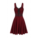 Vintage Womens Eyelet Straps Sweetheart Neck Mid Pleated Flared Tank Dress