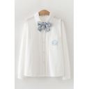 Simple Womens Badge Embroidered Chest Pocket Long Sleeve Plaid Print Bow Turn down Collar Button up Pleated Relaxed Shirt in White