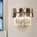 Clear Cut Crystal Tiered Wall Light Contemporary 2 Lights Living Room Flush Wall Sconce