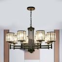 Black/Gold 8-Light Chandelier Lighting Modern Crystal Prism Cylinder Hanging Pendant Light
