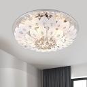 Petals Ivory Glass Flush Mount Light Contemporary 9/13-Bulb Living Room Ceiling Lighting, 23.5