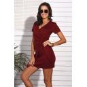 Elegant Ruched Twist Detail V-neck Short Sleeve Short Sheath Dress for Women