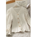 Elegant Ladies Solid Color Pleated Pearl Button Down Bows Long Puff Sleeve V Neck Regular Fit Shirt