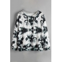 Fashion Butterfly Tie-dye Printed Long Sleeve Drawstring Kangaroo Pocket Relaxed Hoodie