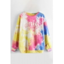 Trendy Letter California Tie Dye Printed Long Sleeve Crew Neck Relaxed Pullover Sweatshirt
