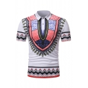 Africa Style Short Sleeve Lapel Collar Button Detail Floral Pattern Slim Fitted Polo for Men