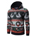 Mens New Stylish Christmas Printed Long Sleeve Casual Pullover Hoodie