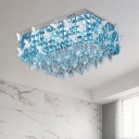 Modern Rectangle LED Ceiling Light Clear/Amber/Lake Blue Crystal Flush Mount with Butterflies Decor, Warm/White Light