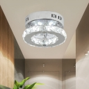 Beveled Glass LED Round Ceiling Lamp Modern Stainless-Steel Flush Mount Fixture with Crystal Ball in Warm/White Light